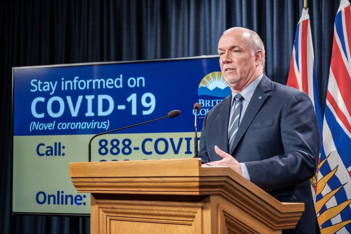 B.C. Premier John Horgan gives an update on provincial support programs for people facing consequences of COVID-19 pandemic, B.C. legislature, March 17, 2020. (Tom Fletcher/Black Press)